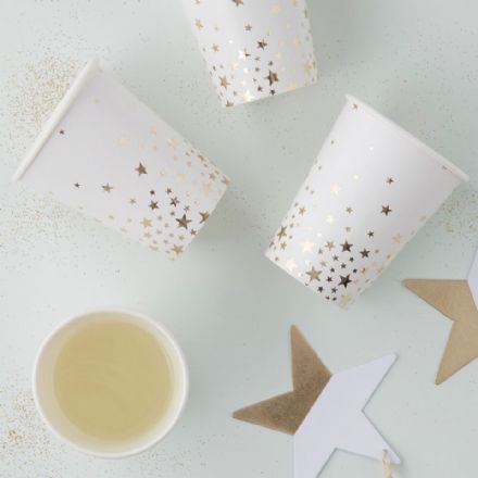 Christmas Gold Star Paper Cups -  pack of 8